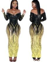 Pailletten Gold und Schwarz Langes Kleid mit Ärmeln