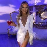 Sexy Perlen Feather Party Kleid