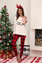 Conjunto de pijama navideño de dos piezas para mujer