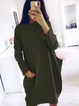 Round Neck Long Sleeves Loose Shirt Dress