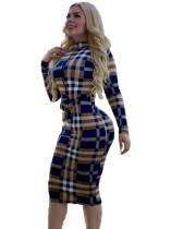 Renkli Ekose Uzun Kollu Midi Elbise