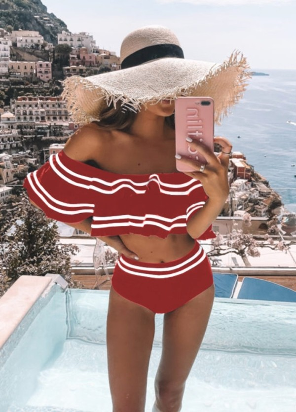 Off Shoulder Stripes Badebekleidung mit hoher Taille
