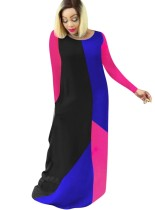 Contrast Round Neck Long Dress with Sleeves