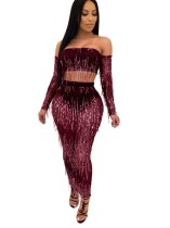 Sequins Strapless Top and Long Curvy Skirt Set