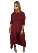Conjunto de camisa y legging irregular de color liso sexy