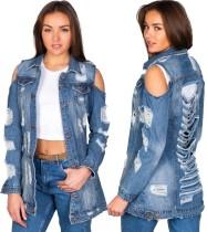 Blauer, herausgeschnittener Denim-Mantel