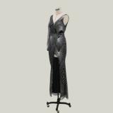 Pailletten Single Sleeve Wrapped Abendkleid
