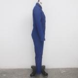 Sexy Blue Denim Bodycon Jumpsuit zum Knöpfen