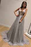 Pailletten mit V-Ausschnitt ärmelloses langes formelles Kleid
