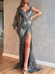 Вечернее платье с блестками и одним рукавом