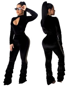 Combinaison-culotte en velours sexy à manches longues