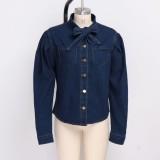 Темно-синяя элегантная джинсовая блузка
