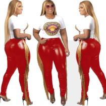 Pantalones de cuero flecos ajustados sexy