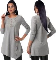 Camisa larga irregular gris oscuro con cuello redondo