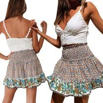 Falda acampanada floral de verano de cintura alta