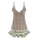 Summer Floral Straps Strandkleid mit V-Ausschnitt