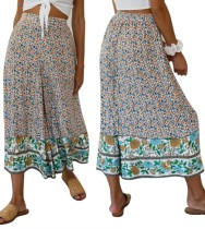 Falda larga de una línea de cintura alta floral de verano