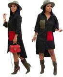 Afrikanischen Kontrast unregelmäßige lange Bluse Kleid mit Ärmeln