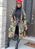 Street Style Langer Camou Mantel mit Ärmeln