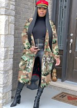 Manteau long camou style rue avec manches