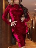 Sheer Velvet Ruched Midi Dress mit Ärmeln