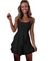 Vestido de verano de una línea de correas anchas color liso
