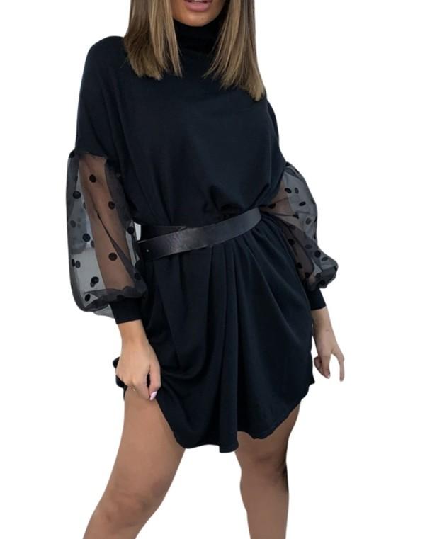 Schwarzes kurzes loses Kleid mit Mesh-Ärmeln