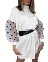 Vestido suelto corto blanco con mangas de malla