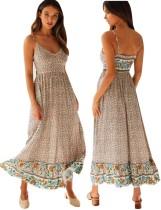 Vestido largo bohemio con tirantes florales de verano