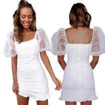 Mini vestido de volantes elegantes blancos con mangas pop de malla