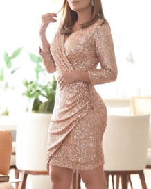 Paillettes élégante robe portefeuille à manches longues