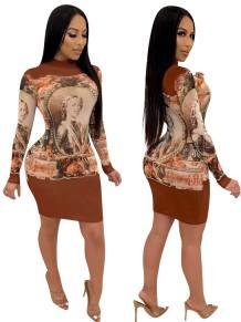 Печать с длинным рукавом Bodycon Dress