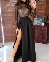 Black See Through Beaded Top and High Waist Slit Maxi Skirt