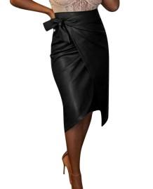 Кожаная юбка с завышенной талией