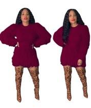 Top corto y minifalda de felpa en color liso