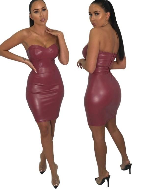 Sexy trägerloses Leder-Partykleid