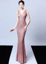 Sequins V-Neck Sleeveless Mermaid Evening Dress