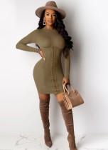 Mini-robe à manches longues à lacets