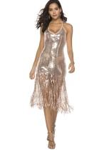 Lantejoulas sexy borlas halter vestido de clube