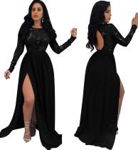 Schwarzes Pailletten Schlüsselloch Schlitz langes Abendkleid mit Ärmeln