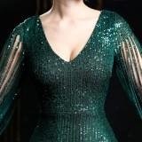 Pailletten V-Ausschnitt Meerjungfrau Abendkleid mit gerippten Ärmeln