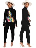 Character Print Enges Langarmhemd und Hosen-Set