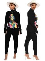 Conjunto de camisa y pantalón de manga larga ajustada con estampado de personajes