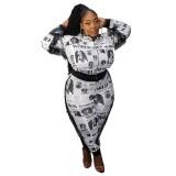 Plus Size Weiß und Schwarz Print Quasten Trainingsanzug