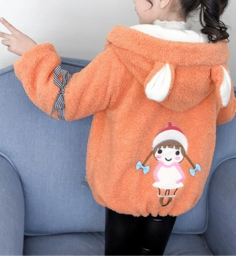 Chaqueta con capucha de felpa de invierno para niña para niños