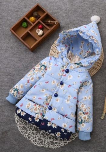 Chaqueta con capucha acolchada floral de invierno para niña para niños