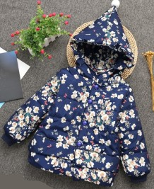 Kids Girl Winter Floral Padded Hoody Jacket