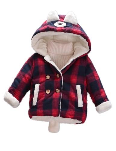 Chaqueta con capucha acolchada a cuadros de invierno para niños