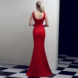 Schiere V-Ausschnitt Ketten Schlitz Meerjungfrau Abendkleid