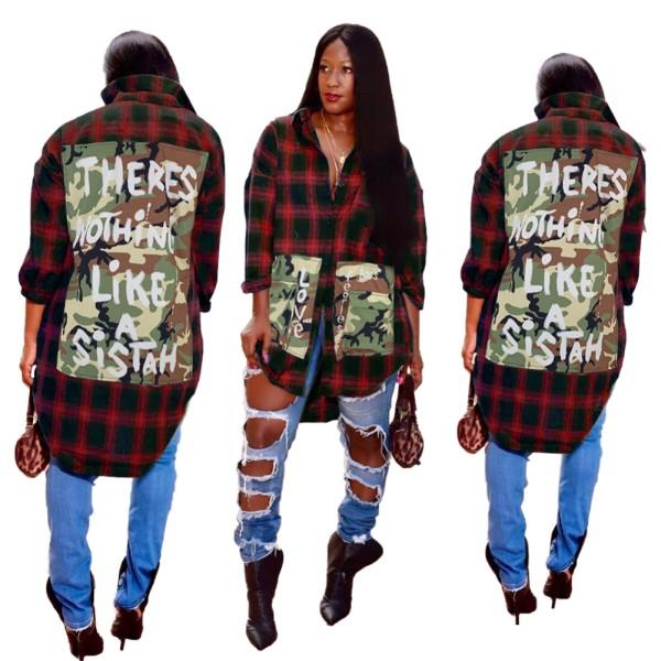 Plaid Print High Low Lange Bluse mit Ärmeln